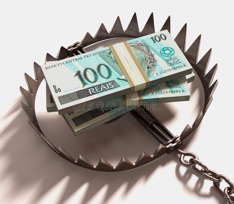 Mousetrap mit dem Dollarzeichen getrennt auf weißem Hintergrund lizenzfreies stockbild