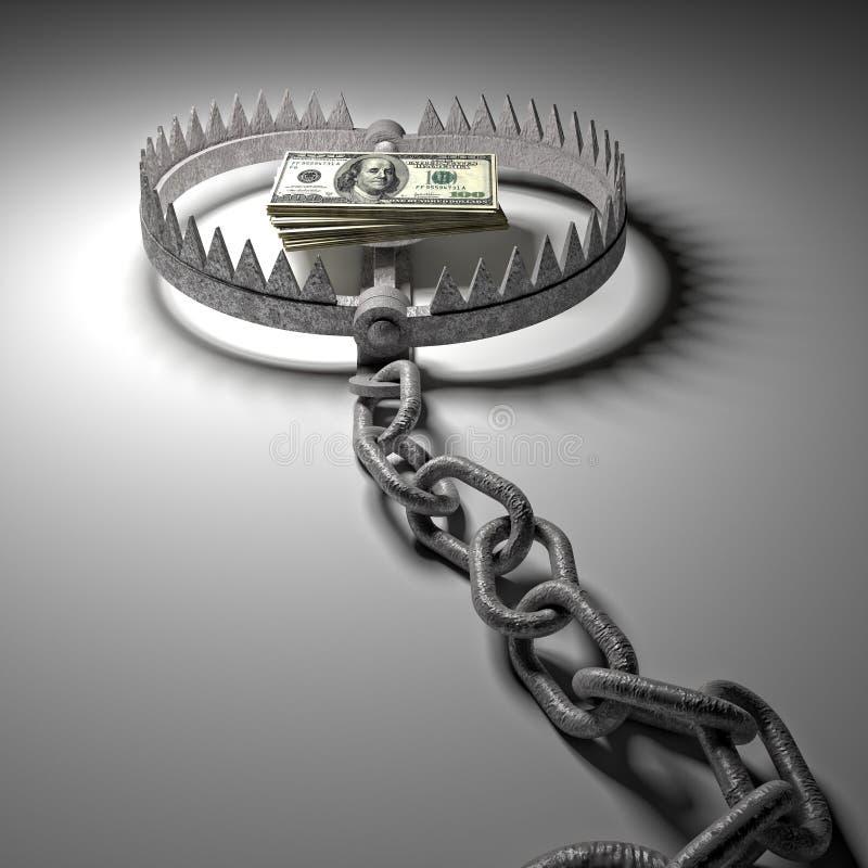 Mousetrap mit dem Dollarzeichen getrennt auf weißem Hintergrund stock abbildung