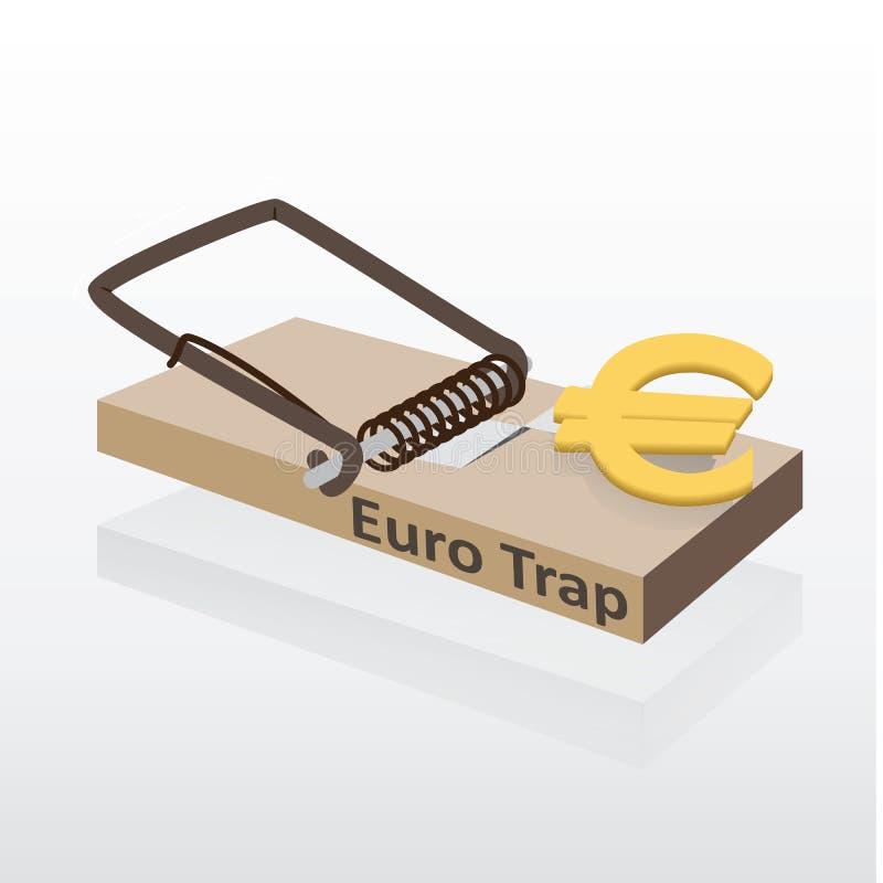 Mousetrap mit Eurogeldvektorillustration stock abbildung