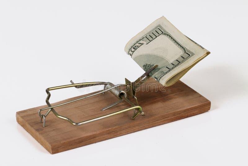 Mousetrap mit Geld stockfotografie