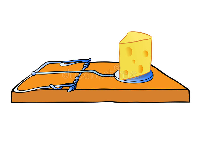 Mousetrap mit Käse - Falle stock abbildung
