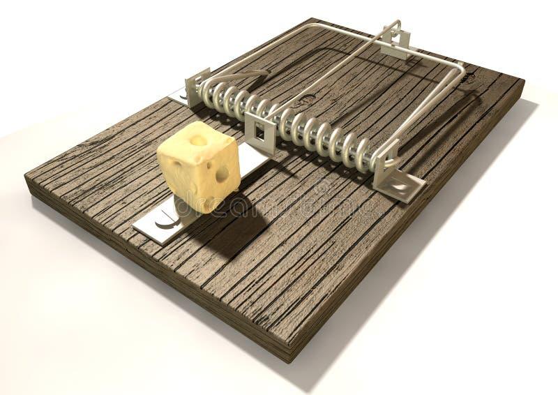 Mousetrap mit Käse-Perspektive lizenzfreie abbildung