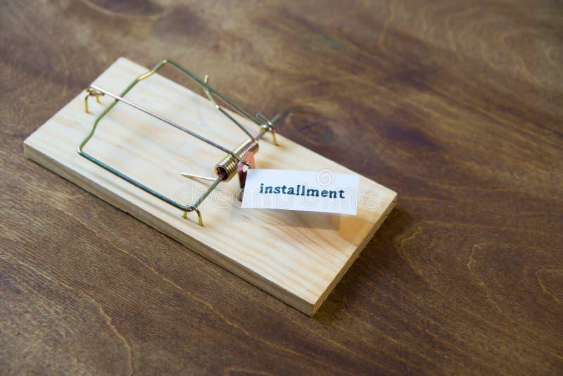 mousetrap Ne tombez pas pour l'amorce Pensez toujours aux conséquences images stock