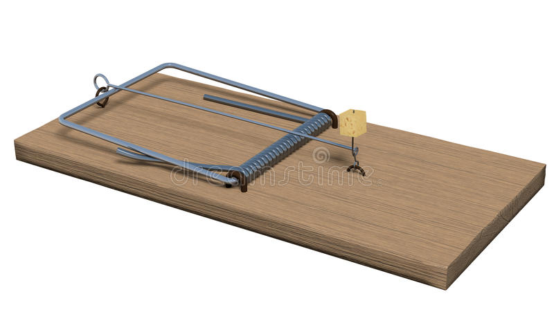 Mousetrap on white. Spring-loaded bar mousetrap isolated on white. 3d render stock illustration