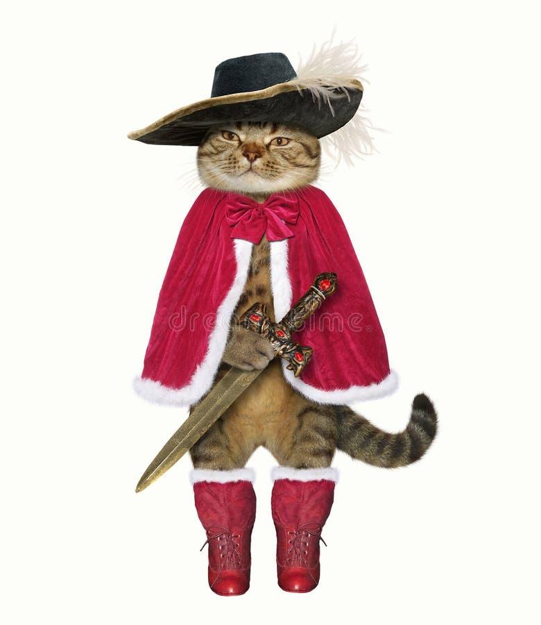 Mousquetaire de chat avec l'épée images stock