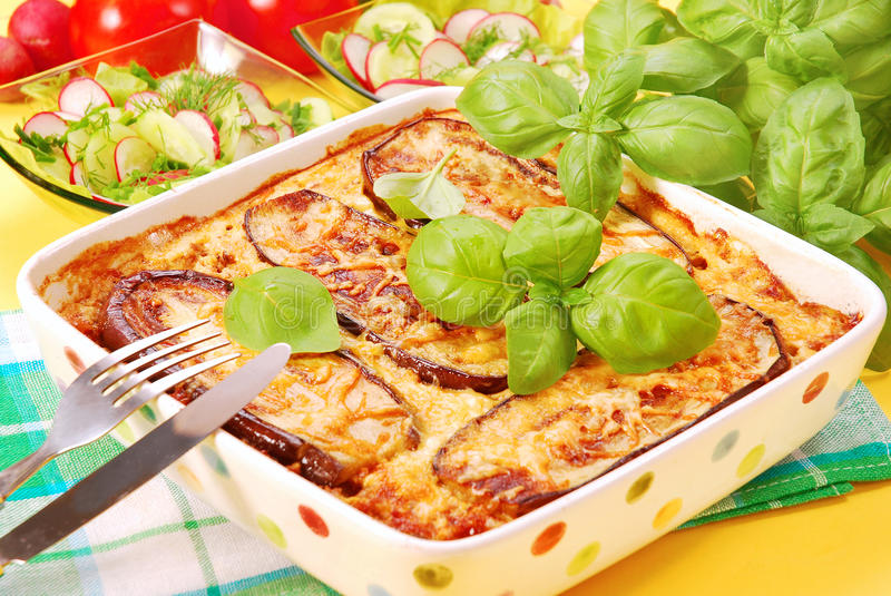 Moussaka with aubergine. Traditional greek moussaka with aubergine royalty free stock image