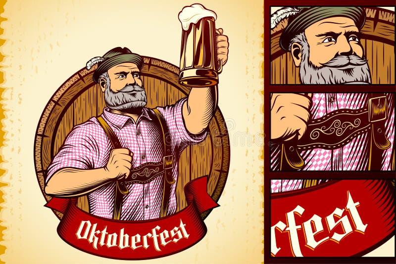 Mousse bavaroise Lager Engraving de baril en verre de bière d'homme d'Oktoberfest de vecteur illustration libre de droits