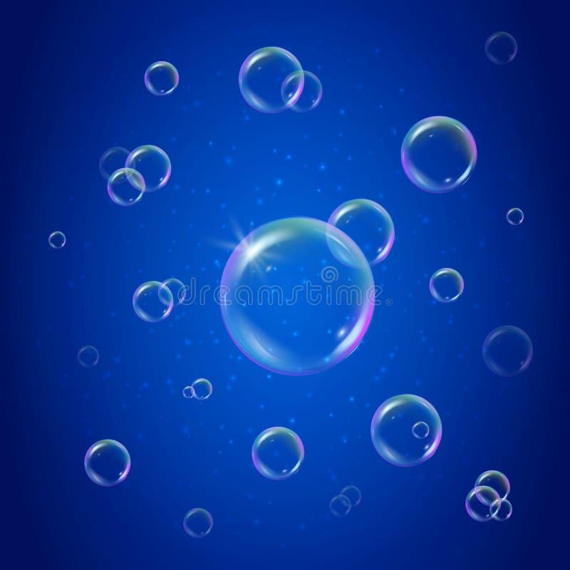 Mousse de shampooing sur le fond brillant bleu illustration de vecteur