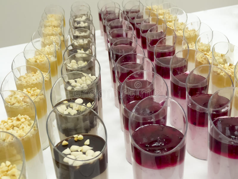 Mousse in glasses. stock photos
