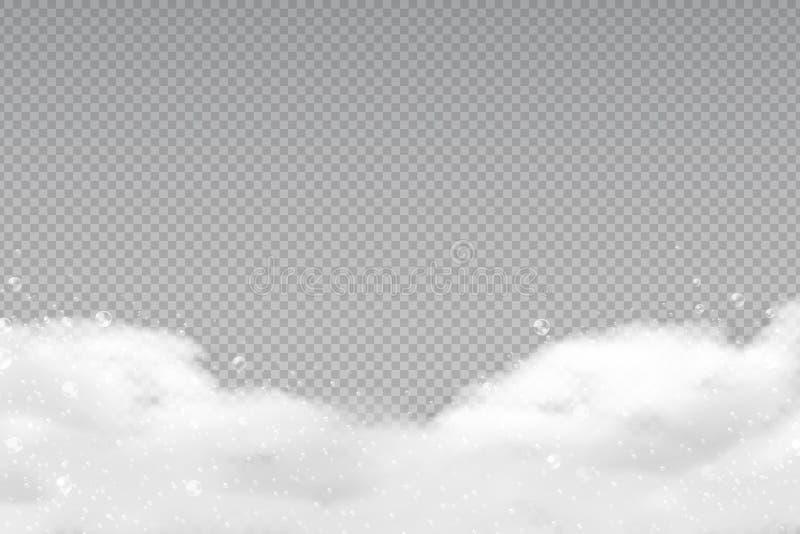 Mousse réaliste de bain Bulles transparentes de shampooing, cadre savonneux de blanchisserie, douche rasant la mousse de gel Desc illustration de vecteur