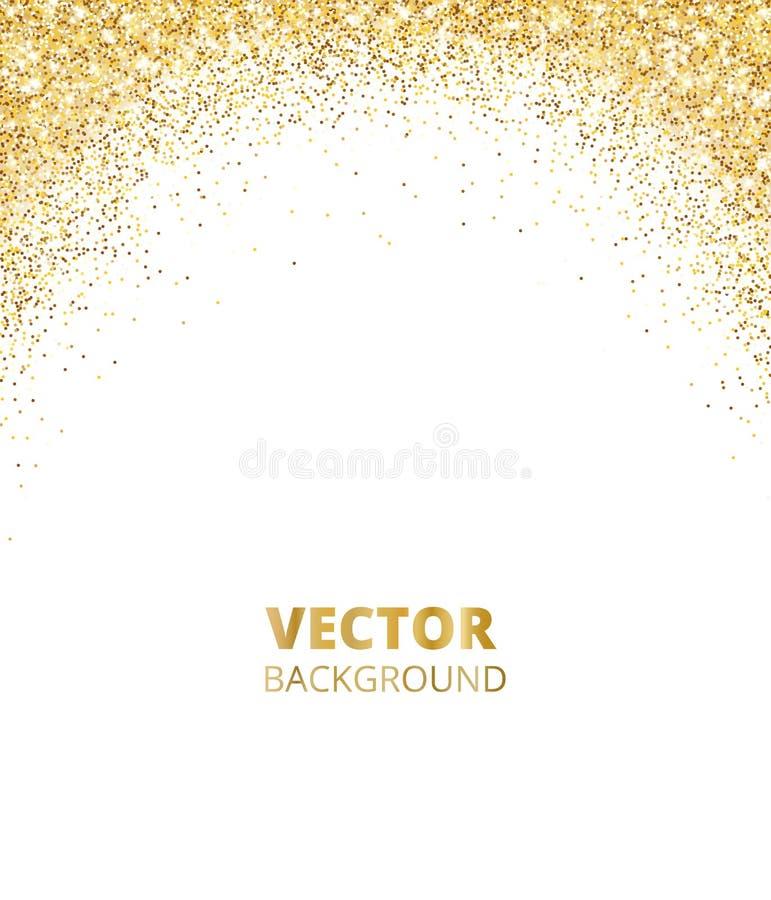 Moussera blänka gränsen, ram Fallande guld- damm som isoleras på vit bakgrund Guld- blänka garnering för vektor royaltyfri illustrationer