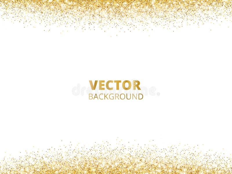 Moussera blänka gränsen, ram Fallande guld- damm som isoleras på vit bakgrund Guld- blänka garnering för vektor stock illustrationer