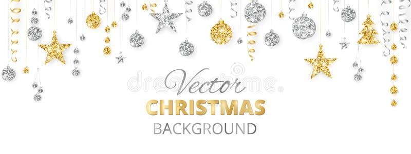 Mousserande jul blänker prydnader Guld- fiestagräns, festlig girland med hängande bollar och band som isoleras på royaltyfri illustrationer