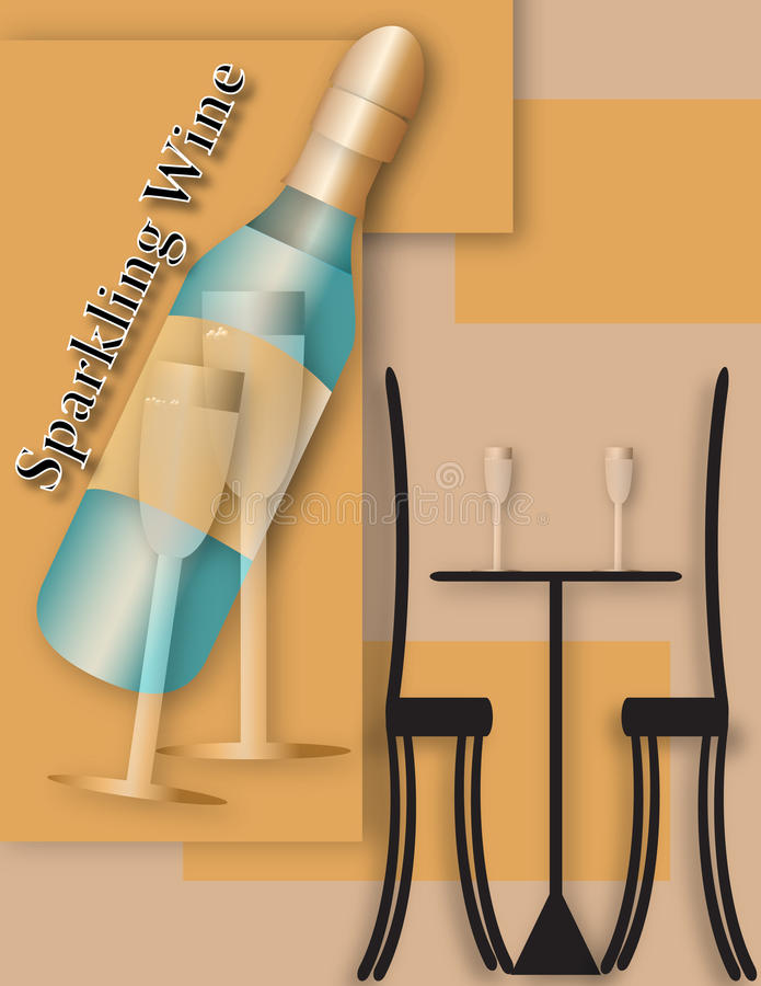 Mousserande vinkafé stock illustrationer