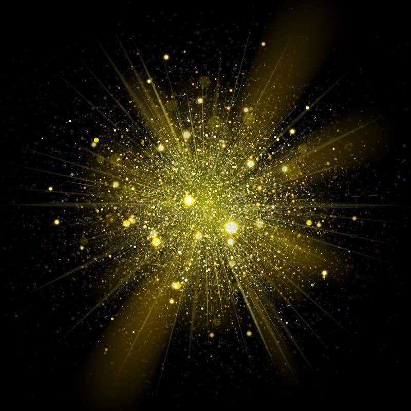 Mousserar den guld- stjärnan för vektorn i explosion Blänka glänsande partiklar i stjärnklart utrymme stock illustrationer
