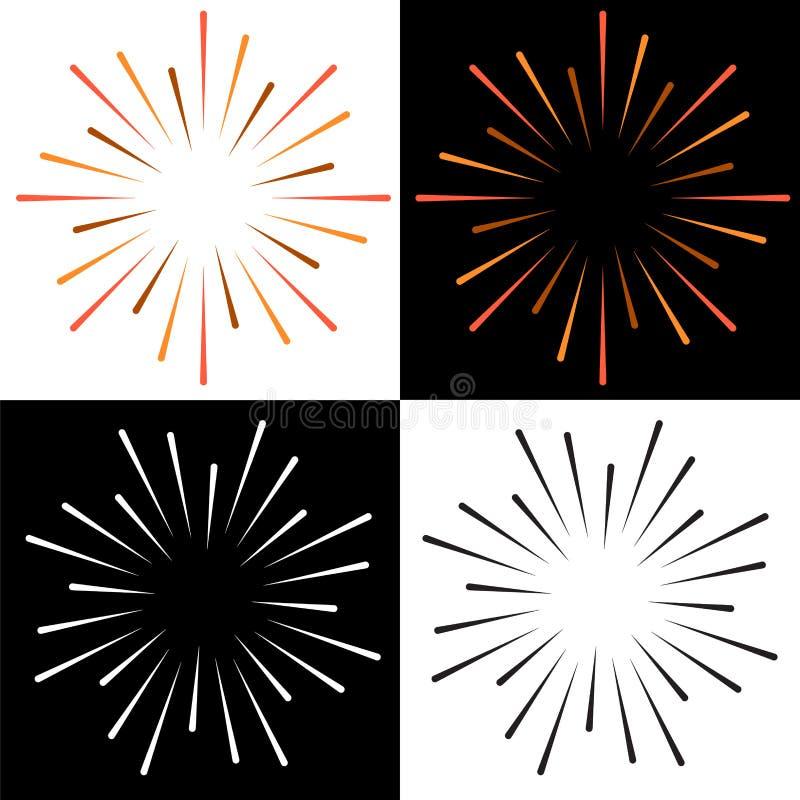 Mousserar färgrik logo för starburstsunburst royaltyfri illustrationer