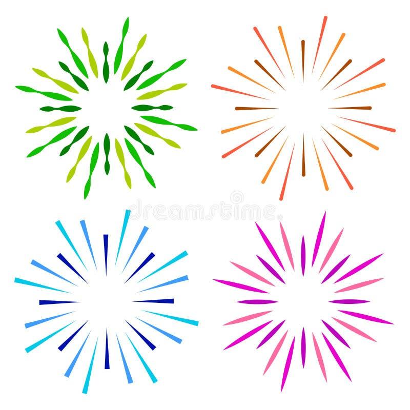 Mousserar färgrik logo för starburstsunburst vektor illustrationer