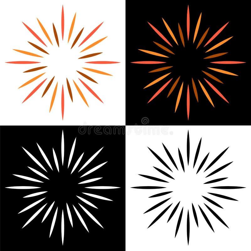 Mousserar färgrika logoer för starburstsunburst vektor illustrationer