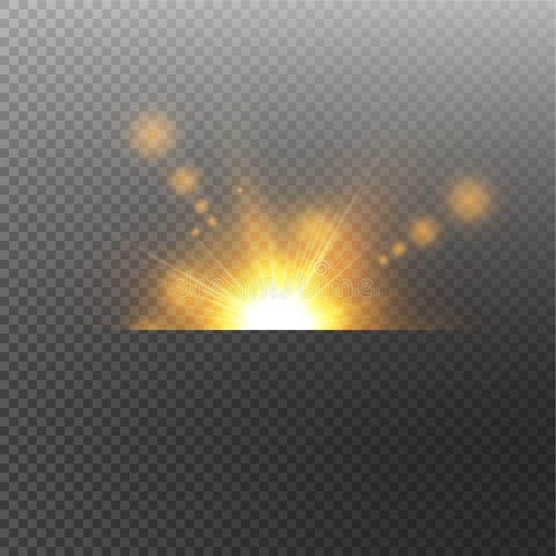 Mousserar gul specialeffekt f?r den ljusa viktign med str?lar av ljus och magi Sol Ray Gl?der genomskinligt vektorljus vektor illustrationer