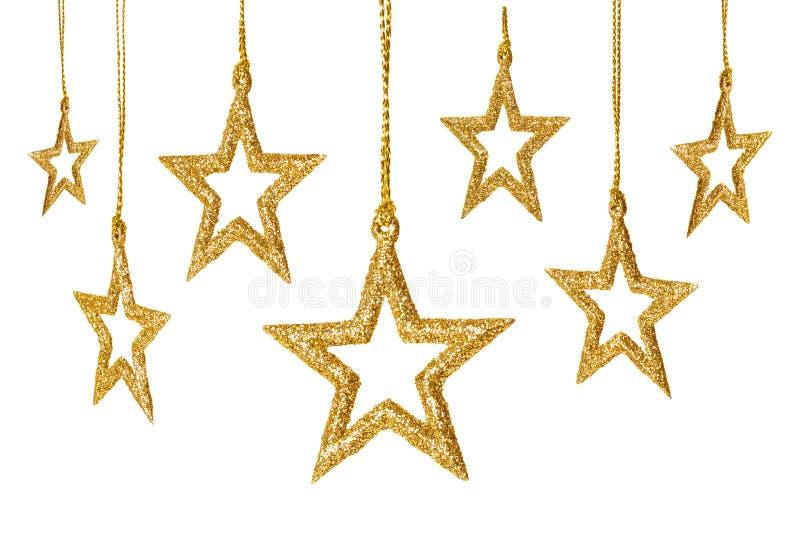 Mousserar hängande garnering för julstjärnan, det nya året stjärnauppsättningen arkivfoton