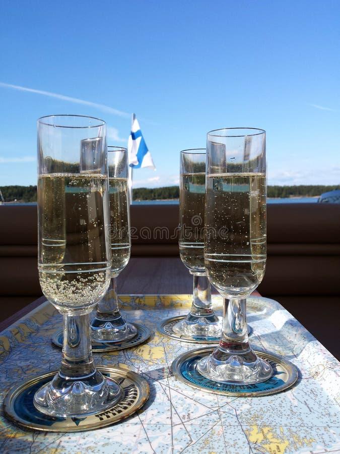 Mousserende wijnglazen royalty-vrije stock foto's