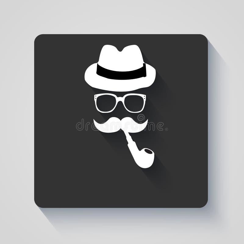Moustache avec le chapeau, le tuyau de tabagisme et l'icône en verre images libres de droits