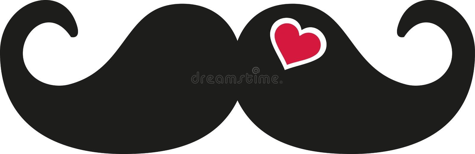 Moustache avec le coeur de coupe-circuit illustration stock
