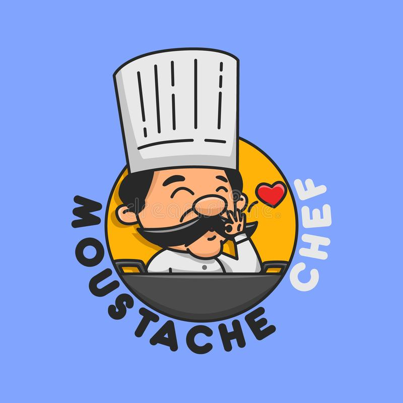 Moustache Chef good for restaurant brand. Trendy Logo and Badge royalty free illustration