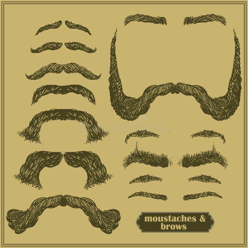 Moustache et sourcils illustration stock