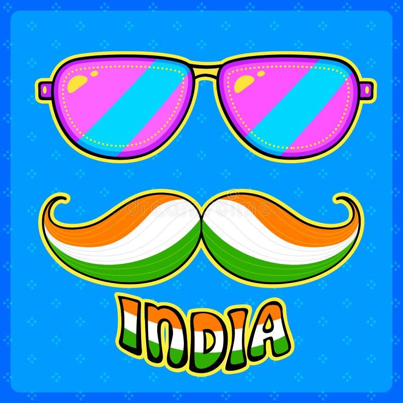 Moustache et verres indiens de style de kitsch illustration libre de droits