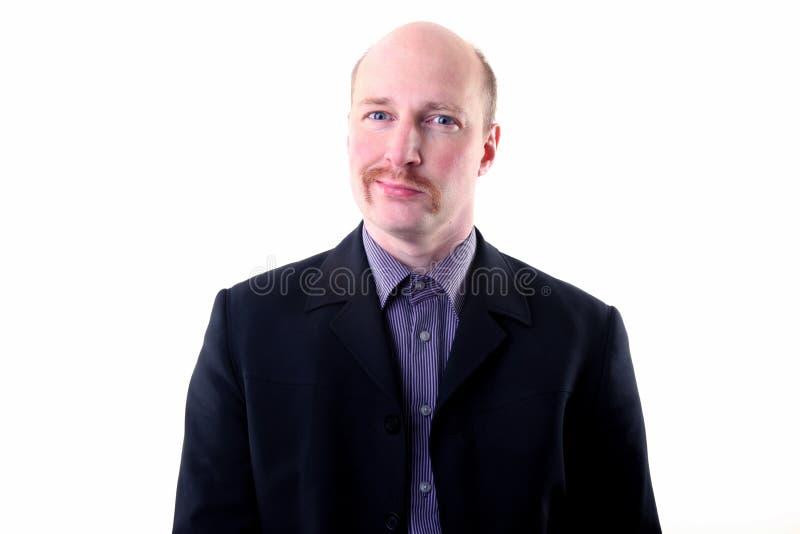 Moustache happy smug businessman stock images