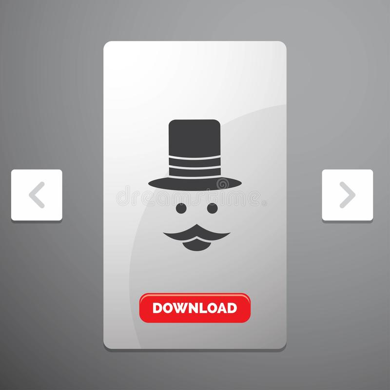Moustache, Hipster, movember, hat, men Glyph Icon in Carousal Pagination Slider Design & Red Download Button. Vector EPS10 Abstract Template background royalty free illustration