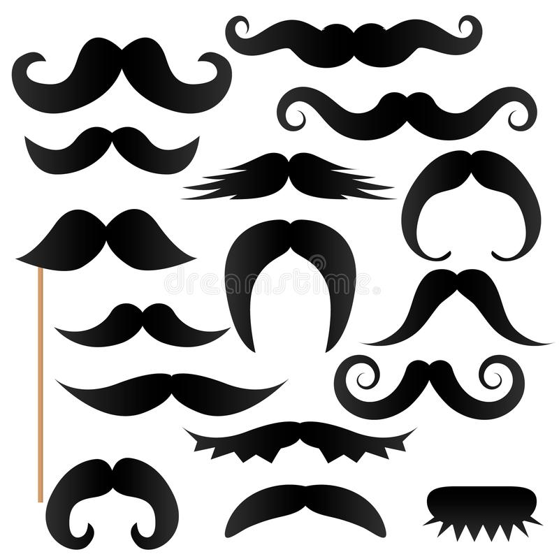 Moustache stick, photo booth props. Vector royalty free illustration