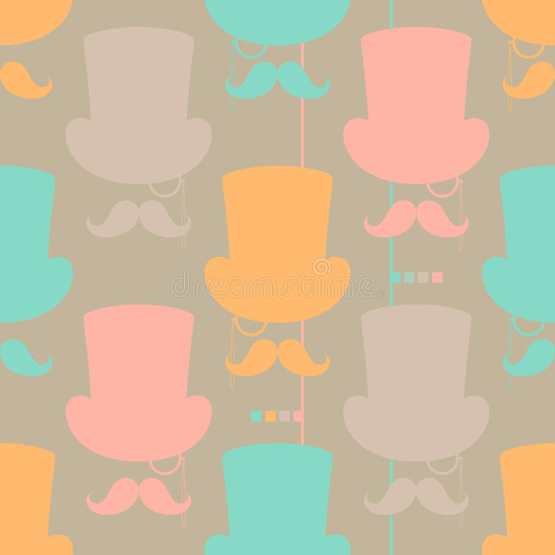 Free Moustache Vector Seamless Pattern Stock Photography - 27080202