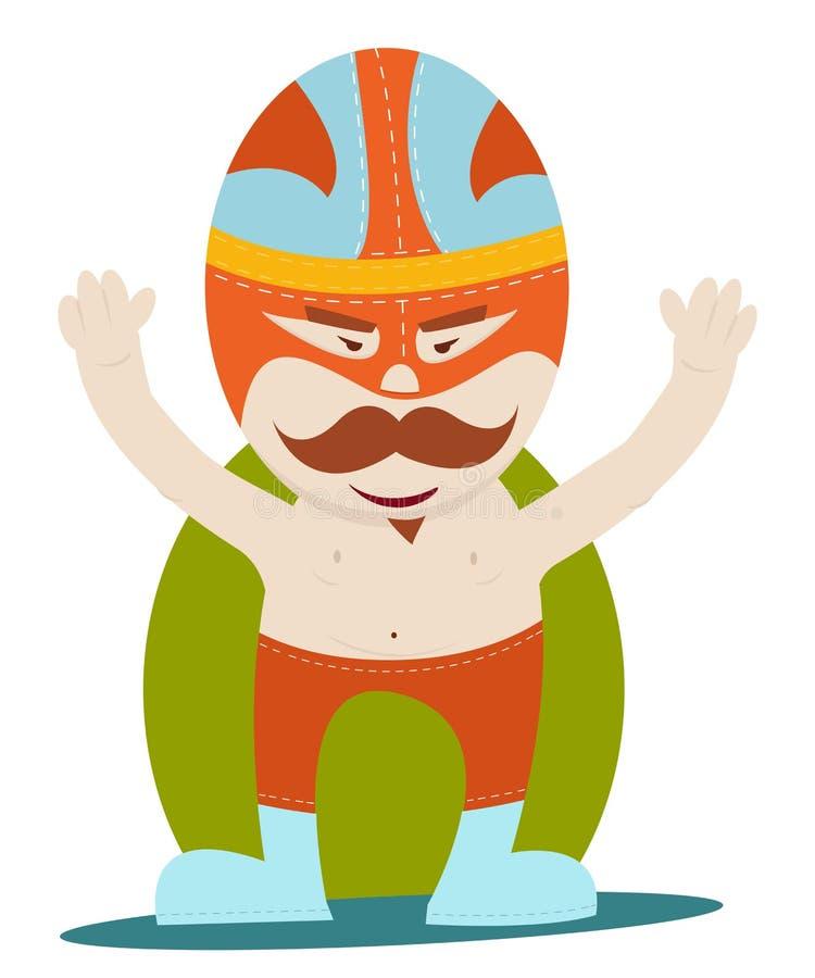 Moustache wrestler. Mexican moustache wrestler, mucha lucha royalty free illustration