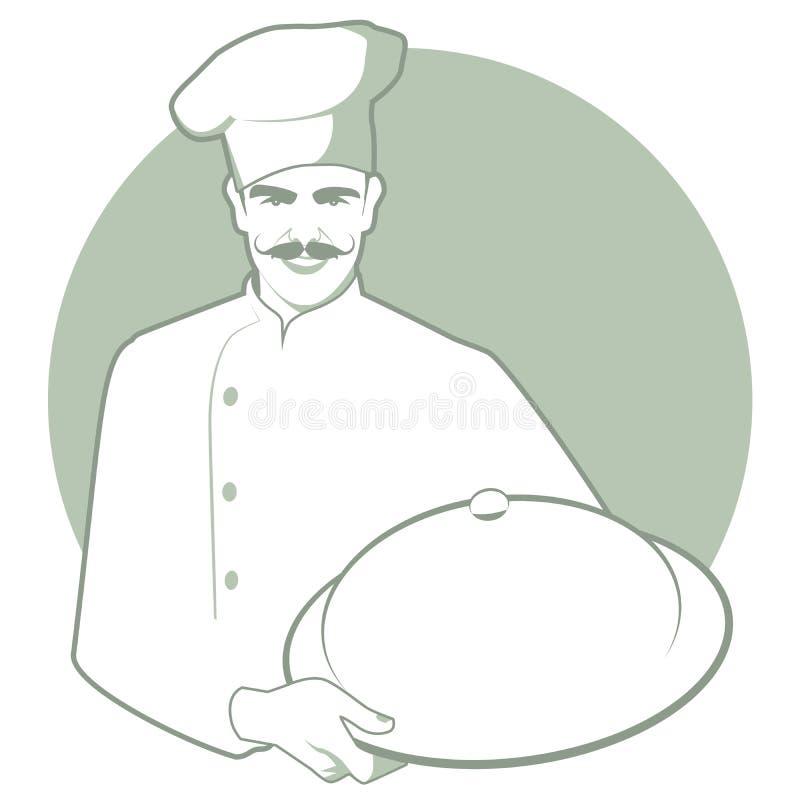 Moustached-Chef mit einem Küchenhut, der einen bedeckten Behälter trägt lizenzfreie abbildung