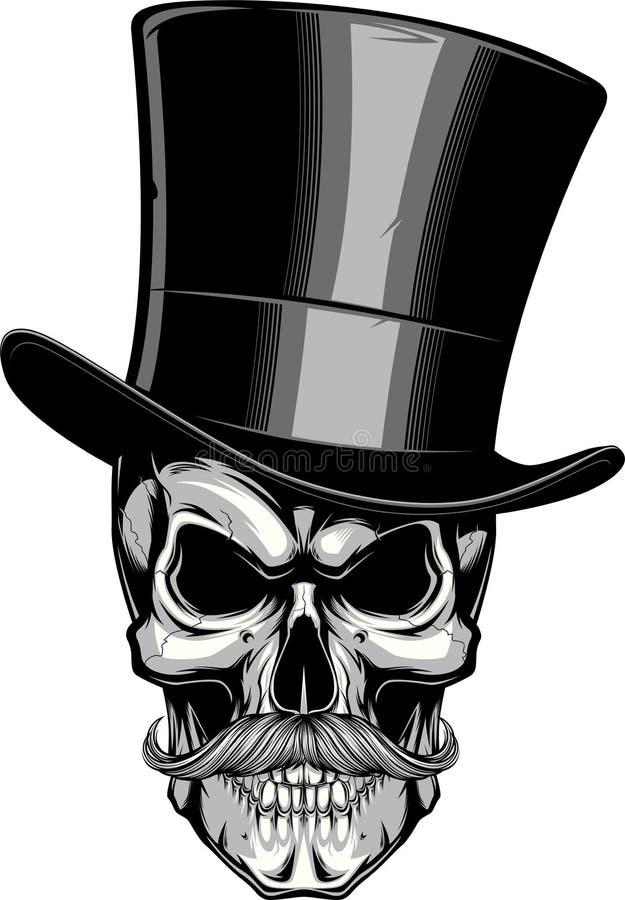 Moustached skalle i en hatt royaltyfri illustrationer