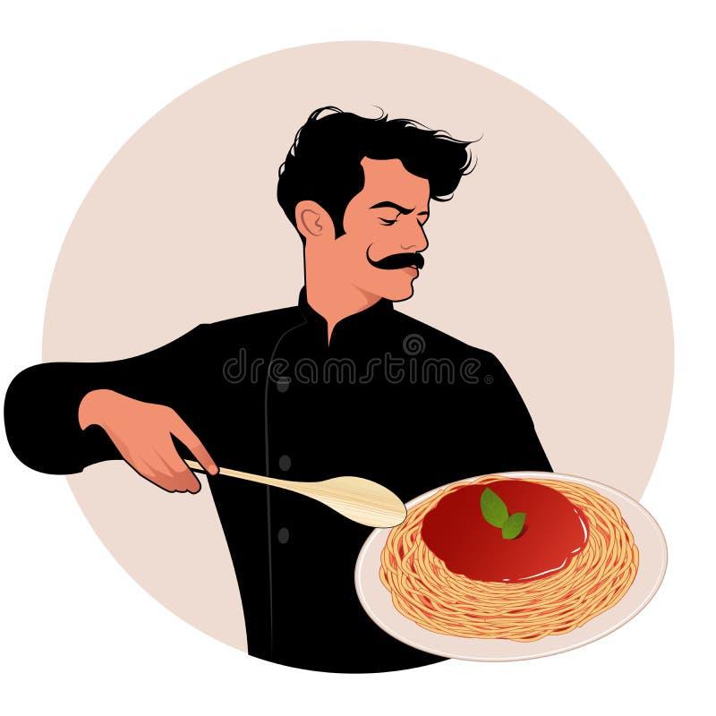 Moustached szef kuchni niesie talerza spaghetti ilustracja wektor