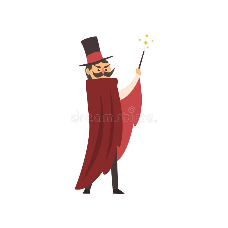 Moustached-Zauberkünstler, der seinen magischen Stab wellenartig bewegt Karikaturmagiercharakter mit rotem Umhang- und Zylinderhu stock abbildung