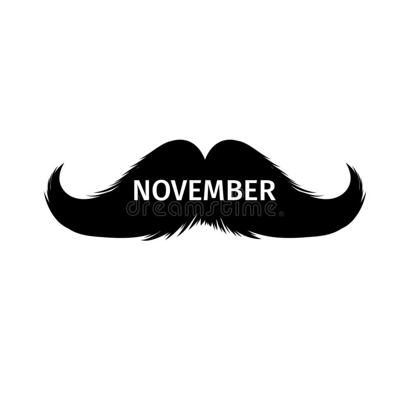Moustaches Clipart. Black Isolated Silhouette and Lettering word November. Moustaches Clipart. Black Isolated Silhouette and Hand Drawn Lettering with word stock illustration