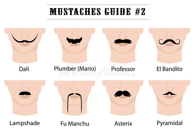 Moustaches guide with names: Dali, Plumber Mario, Professor, El Bandito, Lampshade, Fu Manchu, Asterix, Pyramidal. Set of mustaches on mans face. on white royalty free illustration