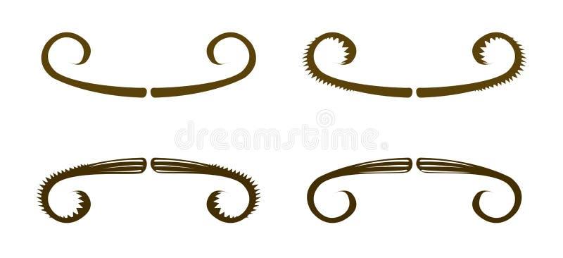 Moustaches Simples De Vecteur Images stock