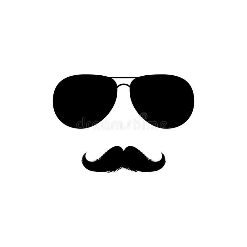 Moustaches and Sunglasses Clipart. Black Isolated Vector Silhouette. Moustaches and Sunglasses Mans Face Clipart. Black Fashion Sunglasses Isolated Vector vector illustration