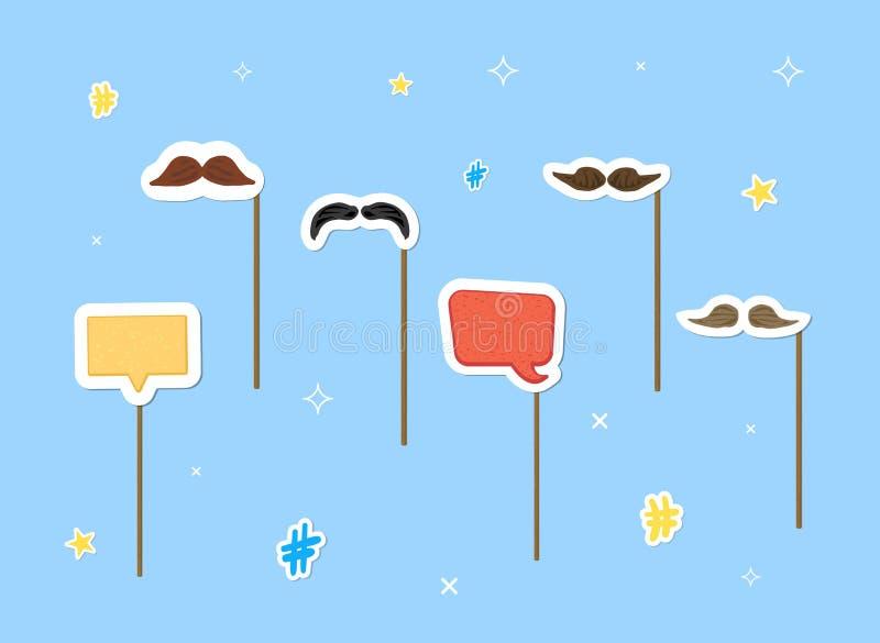 Moustaches sur l'ensemble de bâton Illustration de vecteur illustration de vecteur