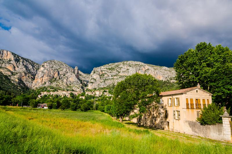 Moustiers Sainte Marie, Francie - June 16, 2018. French village view in Provence, France stock photo