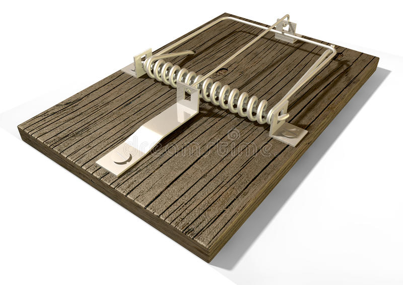 Moustrap Plain Perspective. A regular wood and metal mousetrap on an background royalty free stock photos