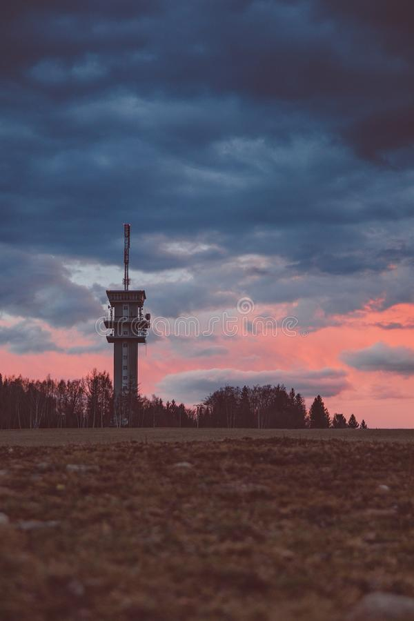 moutain cheb czech west TV Sunset Panorama sunset trip romantic golden Hour royalty free stock photography
