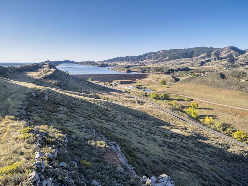 Moutain lake at Colorado foothills stock image
