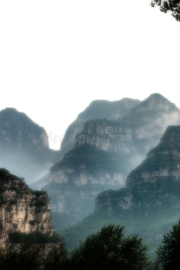 Moutain zoals Chinese wasverf! royalty-vrije stock afbeelding