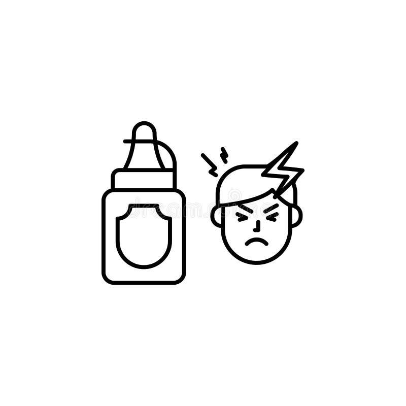 Moutarde, icône allergique Élément des problèmes avec l'icône d'allergies Ligne mince icône pour la conception de site Web et le  illustration stock